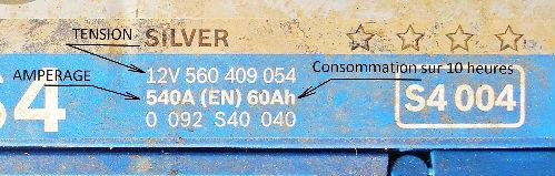 Caractéristiques d`une batterie